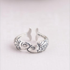 Sterling Silver Small Goldfish Elegant Female Open Rings