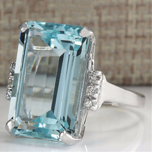 Big Blue CZ Cubic Zircon Stone Silver Rings for Women