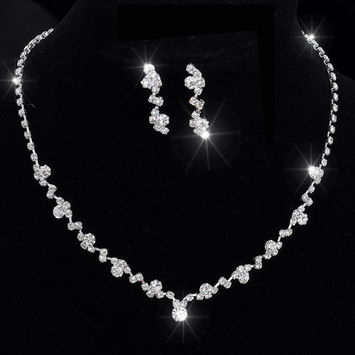 Silver Tone Crystal Necklace & Earrings
