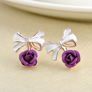 Charming Rose Flower Earrings