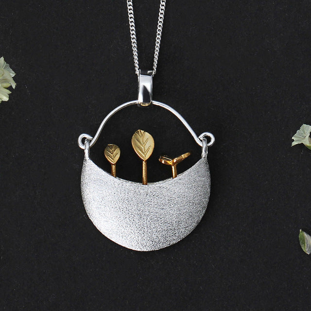 Sterling Silver Handmade Little Garden Pendant for Women - hope2shop