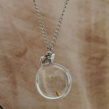 Wish Real Dandelion Crystal Glass Round Pendants Silver Chain Choker Necklace