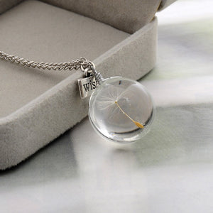 Glass Round Pendants Silver Chain Necklace