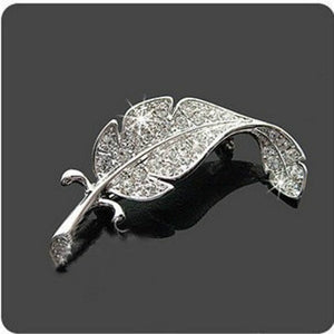 Large Leaves Feather Brooch Silver