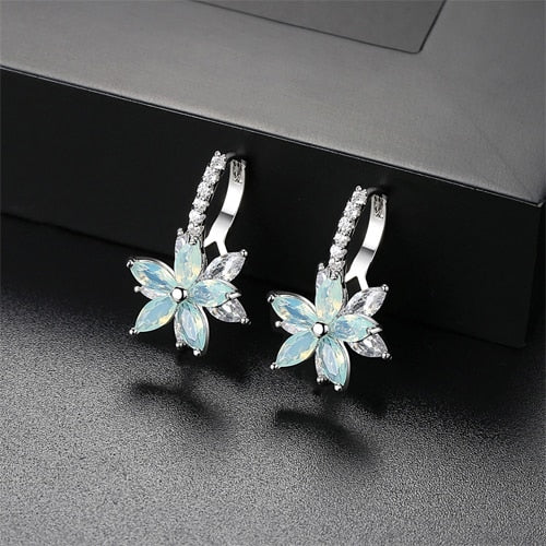 Fancy Crystal Flower Stud Earrings