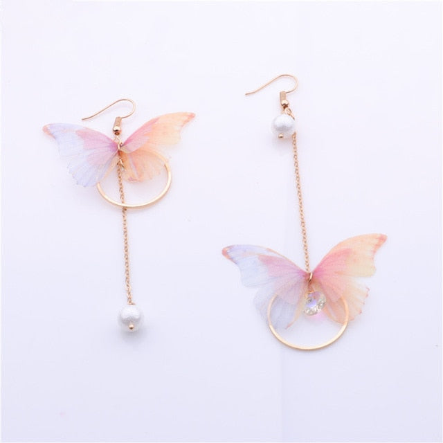 Yarn Butterfly Long Earrings