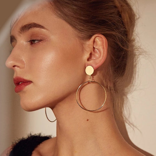 Trendy Gold Sliver Color  Big Round Earrings