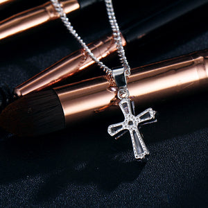 Rose Gold Color Cross Crystal Necklace