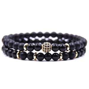 HYHONEY 2pc/sets Natural stone Bracelet  Micro Pave CZ 8mm Disco Ball Charms viking bijoux Bracelets