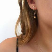 Load image into Gallery viewer, Gold Color Star Design Chain Angle Long Earrings