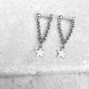 Gold Color Star Design Chain Angle Long Earrings