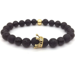 Lava Stone Pave CZ Imperial Crown And Helmet Charm Bracelet  Pulseira hombres