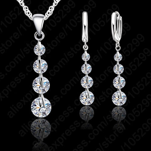 Sterling Silver Link Chain Crystal  Pendant Jewelry Set