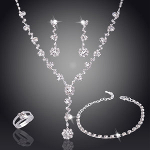 Silver Tone Crystal Tennis african jewelry sets and Earrings
