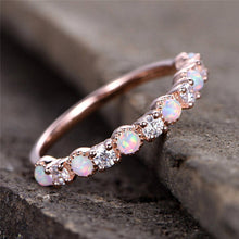 Wedding Ring CZ Zircon Vintage Opal Engagement Ring Women
