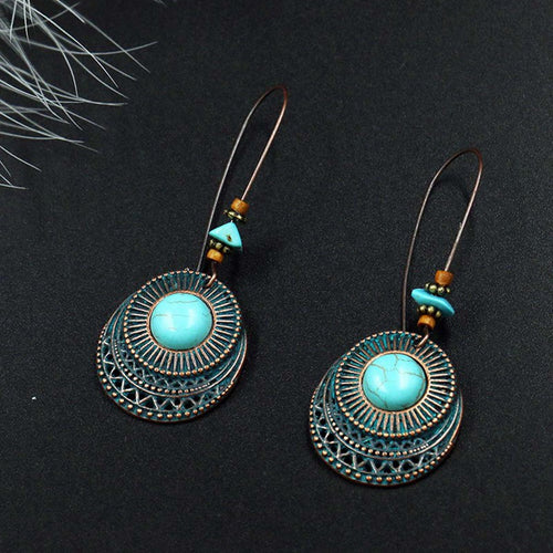 Antique Blue Stone Hollow Dangle Earrings