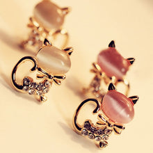 Rhinestone Cute Cat Stone Crystal Women Stud Earrings