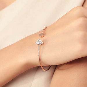 Adjustable Crystal Double Heart Bow Bilezik Cuff Opening Bracelet  Mujer Pulseras