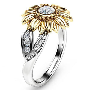 Modyle 2018 New CZ Stone Fashion Jewelry Femme Gold Silver Color Cute Sunflower Crystal Wedding Rings for Women - hope2shop