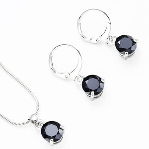 Cubic zirconia Long Necklace Pendant Crystal Earrings Jewelry Sets For Woman