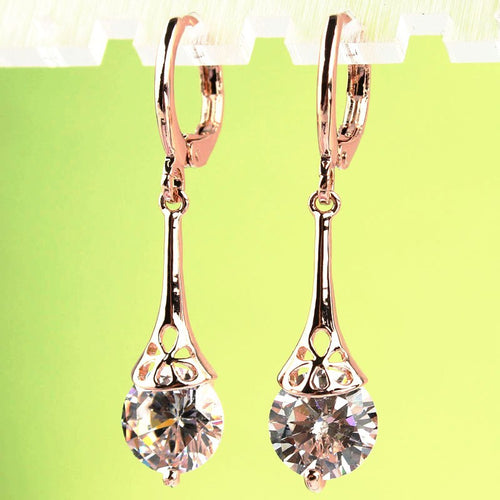 White CZ Stone Crystal  Earrings