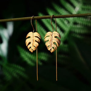 Sterling Silver Handmade Monstera Leaves Design Earrings for Women - hope2shop