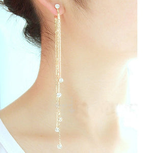 Rhinestone Crystal Drop Dangle Long Tassel Earring