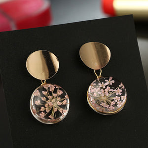 Gold Color Transparent Ball Earrings
