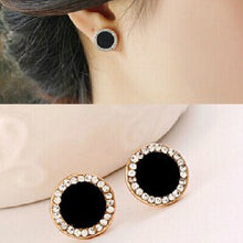 Load image into Gallery viewer, Black Crystal Sunflower Stud Earrings