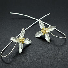 silver Long Flower Earrings For Women New Design Lovely Girls Gift Statement Jewelry Pendientes Plata 925 Wholesale - hope2shop