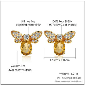 14K Yellow Gold Plated Stud Earring
