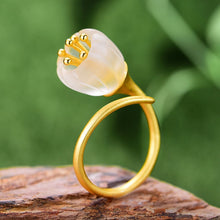 Lotus Fun Real 925 Sterling Silver Natural Crystal Handmade Fine Jewelry Lily of the Valley Flower Rings For Women - hope2shop