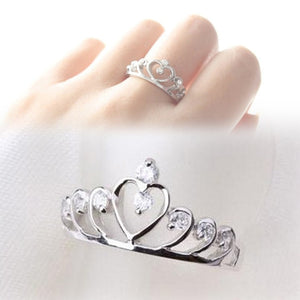 Trendy Rhinestones Inlaid Hollow Out Heart Crown Shaped Gold Silver Plated Woman Ring - hope2shop