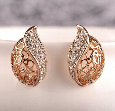 Hollow Leaf Gold Color Rhinestone Earrings