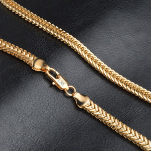 18K Gold Exquisite Smooth Man/Women Necklace Chains