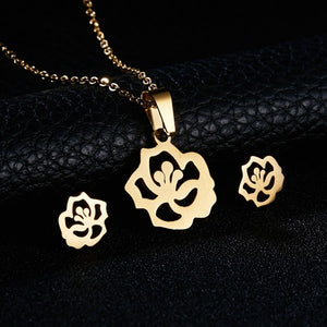 Gold Color Necklace Earrings Jewelry Set
