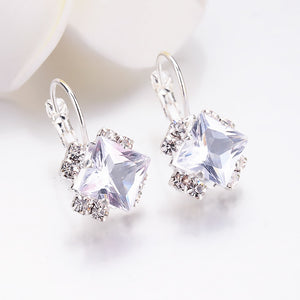 White Square Crystal Drop Earrings