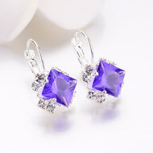 White Square Crystal Drop Earrings For Women