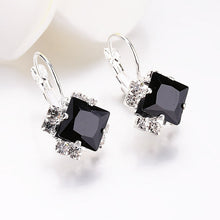Load image into Gallery viewer, White Square Crystal Drop Earrings