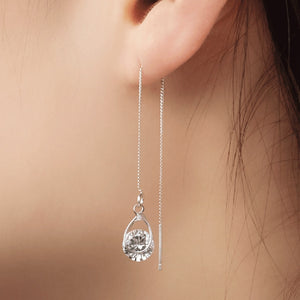 Rhinestone Personality Tassel Long  Sparkling Crystal Earrings