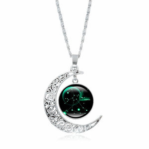 XUSHUI XJ 12 Constellation Glass Cabochon Pendant Necklace Silver Crescent Moon Jewelry Chain Necklace Women girl Family gifts - hope2shop