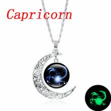 Load image into Gallery viewer, XUSHUI XJ 12 Constellation Glass Cabochon Pendant Necklace Silver Crescent Moon Jewelry Chain Necklace Women girl Family gifts - hope2shop