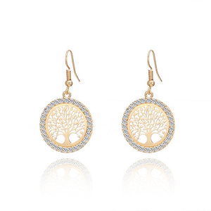 Tree of Life Gold Crystal Earrings Women Hollow Out Copper