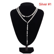 Load image into Gallery viewer, Multilayer Crystal Rhinestone Pendants Chain Necklace