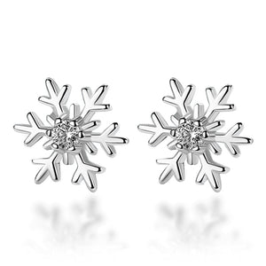 Classic CZ Crystal Snowflake Stud Earrings for Women