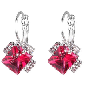 Rhinestones White Red Square Crystal Drop Earrings For Women