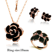 Gold Color Black Painting Rose Jewelry Set for women