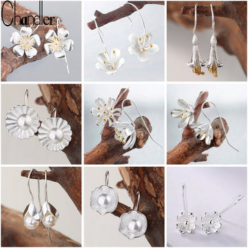 Silver Jewelry Flower Drop Earrings For Women