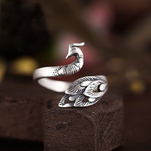 Retro 925 Sterling Silver Fish Feather Peacock Rings for Women