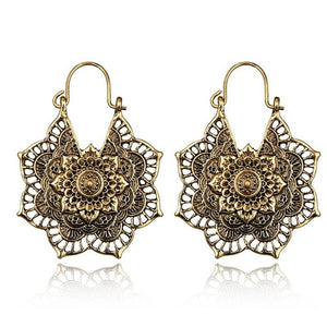 Indian Tribal Flower Ornate Swirl Gypsy Earring For Women